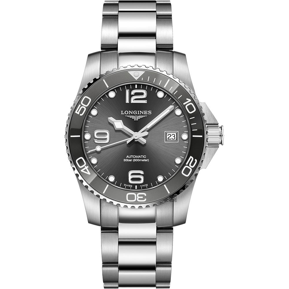LONGINES 浪琴 深海征服者浪鬼陶瓷潛水機械錶-灰x銀/41mm