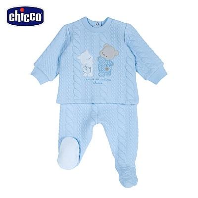 chicco-寶貝熊系列-夾棉連腳套裝-藍(6-12個月)