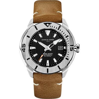 GIORGIO FEDON 1919 海洋系列200米機械錶-黑x卡其皮帶/47mm