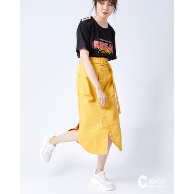 CANTWO JEANS綁結排釦小A字長裙-二色-薑黃