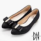 DN 細緻單品 閃耀金蔥布尖頭包鞋-黑