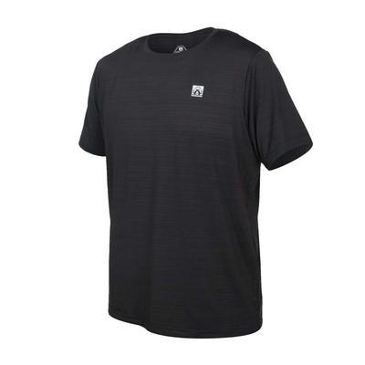 FIRESTAR 男彈性機能短袖圓領T恤-慢跑 路跑 涼感 運動 上衣 D1733-10 黑銀