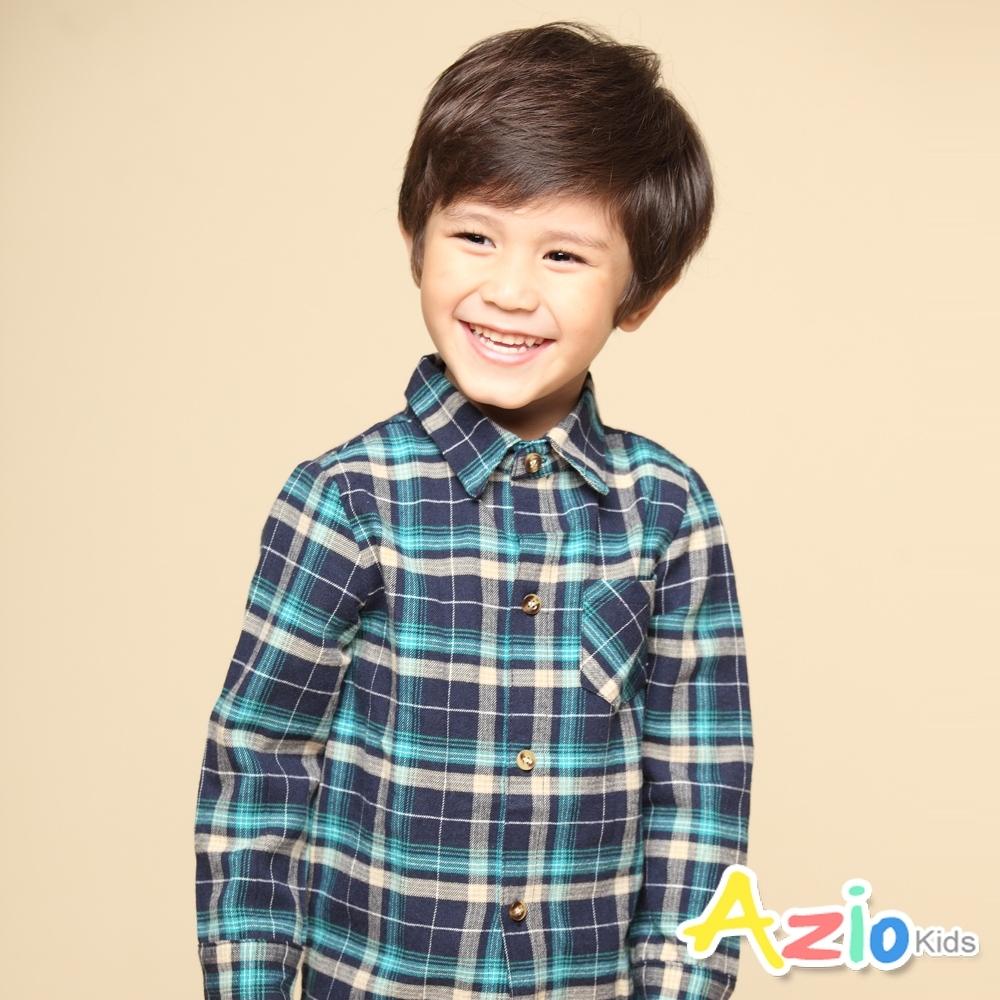Azio Kids 男童 上衣 經典百搭格紋長袖襯衫(藍)