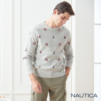 Nautica航海圖騰長袖針織衫-淺灰