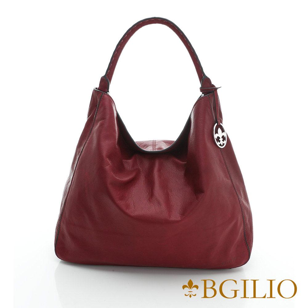 義大利BGilio-義大利水染牛皮大方帥氣肩背包-棗紅色2046.002-01