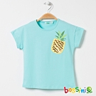 bossini女童-圓領短袖亮片上衣02粉藍