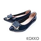 KOKKO -雨後的天空尖頭漆皮平底鞋-深海藍
