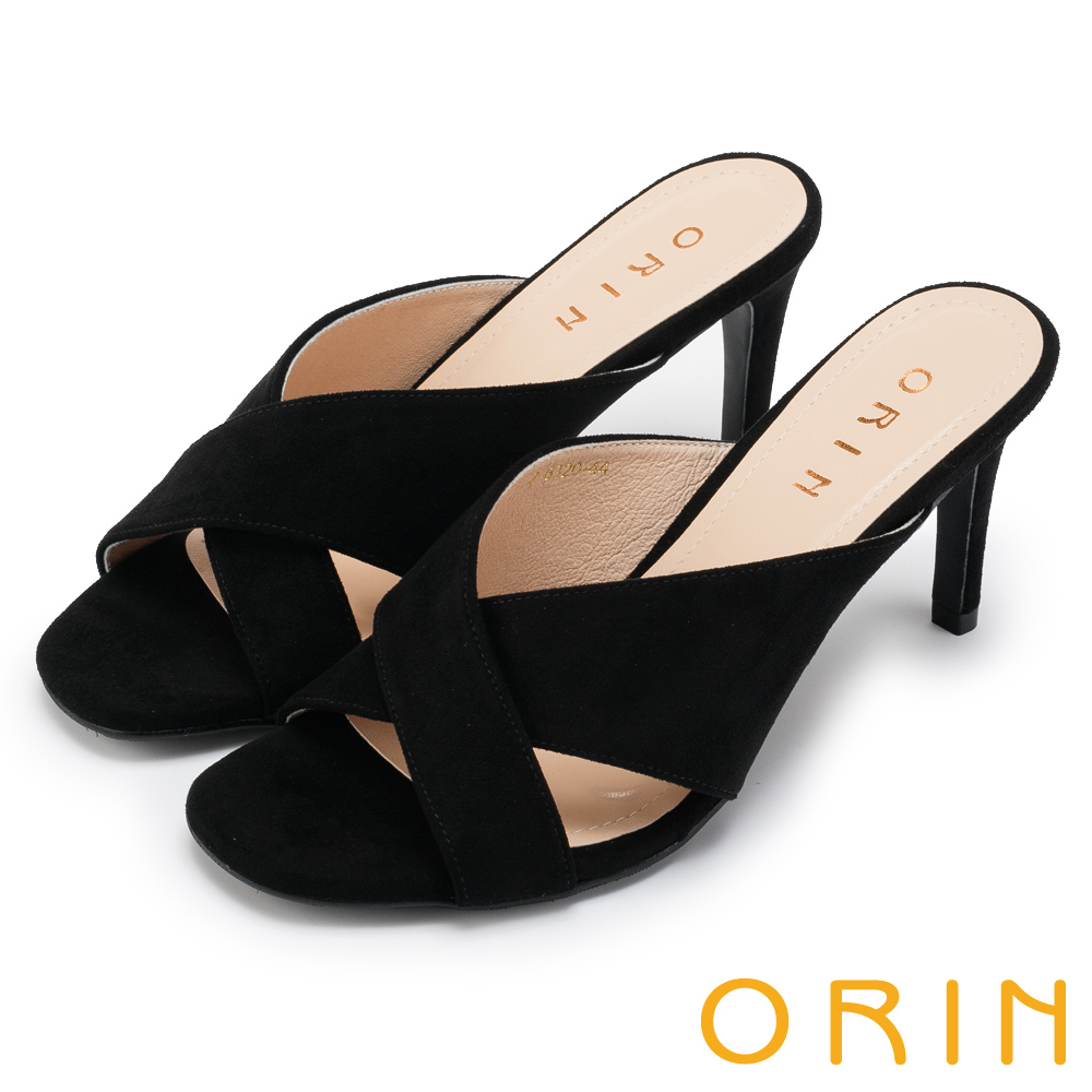 ORIN 夏日時尚風 簡約素面寬版交叉高跟涼拖-黑色