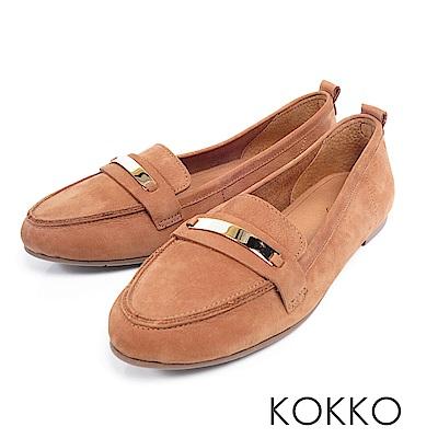 KOKKO - 極致舒適寬楦牛皮平底休閒鞋 -焦糖拿糖