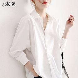 初色  簡約純色寬鬆襯衫-共2色-(M-2XL可選)