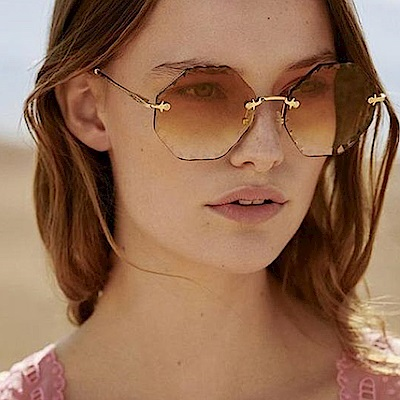 Chloe眼鏡 多角小花邊款/金-漸層棕 #CE143S 742