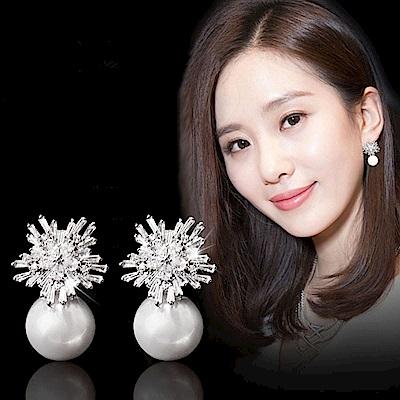 梨花HaNA 韓國925銀針女人閃耀經典雪花珍珠耳環