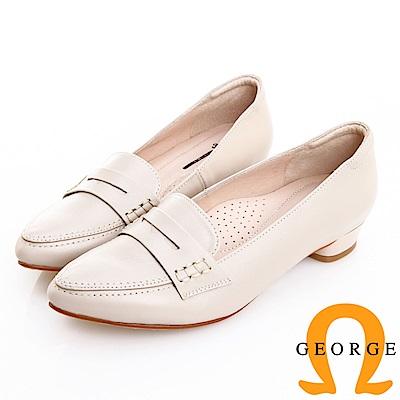 GEORGE 喬治皮鞋 知性復古柔軟羊皮樂福低跟鞋 -米白