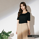 H:CONNECT 韓國品牌 女裝-滾邊針織短上衣-黑
