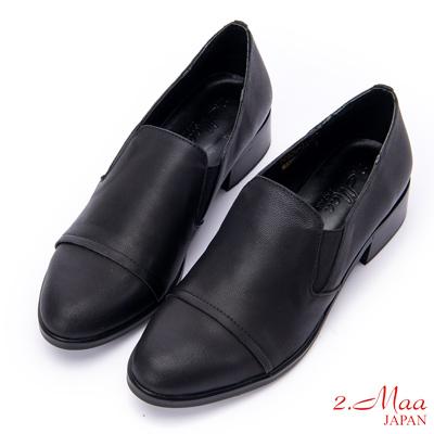 2.Maa 素面牛皮尖頭低跟紳士包鞋 - 黑