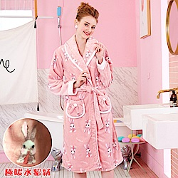 睡袍 吃貨小兔 極暖高克重超柔軟水貂絨女性睡袍(R79227-7豆沙粉)-蕾妮塔塔