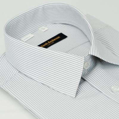 金‧安德森 灰白條紋吸排窄版短袖襯衫fast