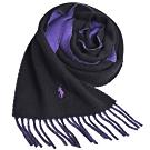 RALPH LAUREN POLO 義大利製小馬刺繡雙面羊毛圍巾(黑/紫)