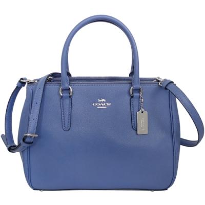 COACH紫藍防刮全皮雙拉鍊袋中款多way包