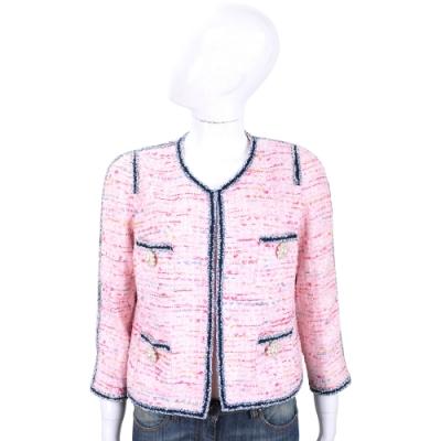EDWARD ACHOUR PARIS 滾邊粉色珍珠花短版毛呢外套