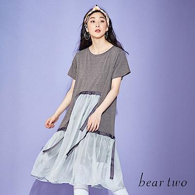 beartwo 拼接織帶網紗設計短袖洋裝(二色)