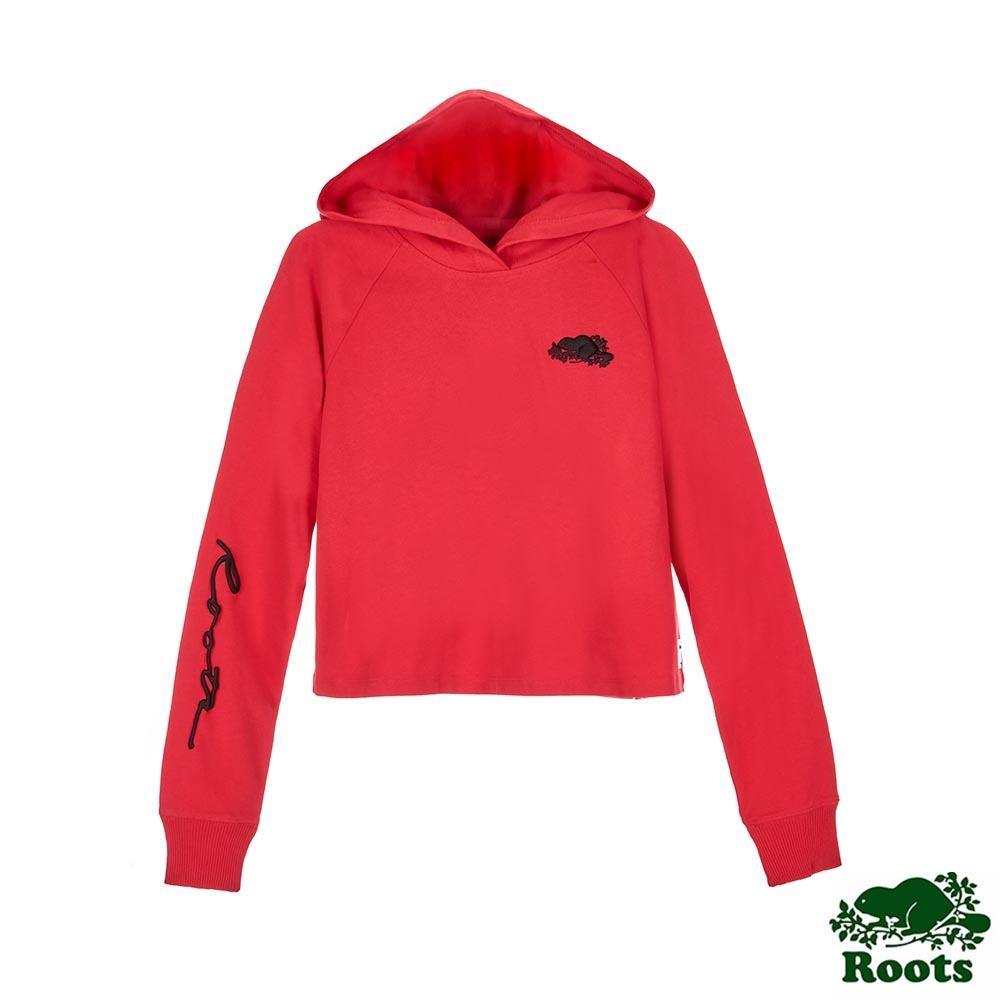 Roots女裝-草寫短版連帽上衣-紅色
