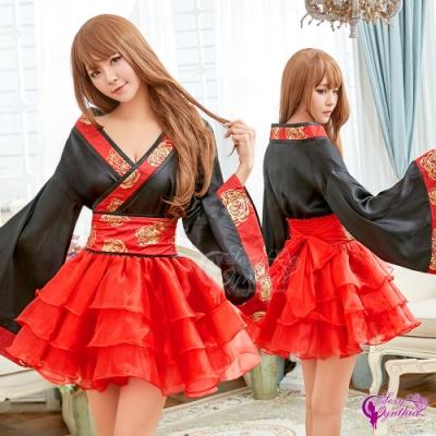 Sexy Cynthia 角色扮演 黑紅撞色日式改良和服角色扮演服二件組-紅F