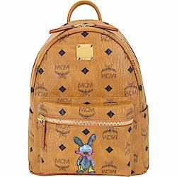 MCM Stark Rabbit 迷你款 兔子印花品牌塗層帆布後背包(棕色)
