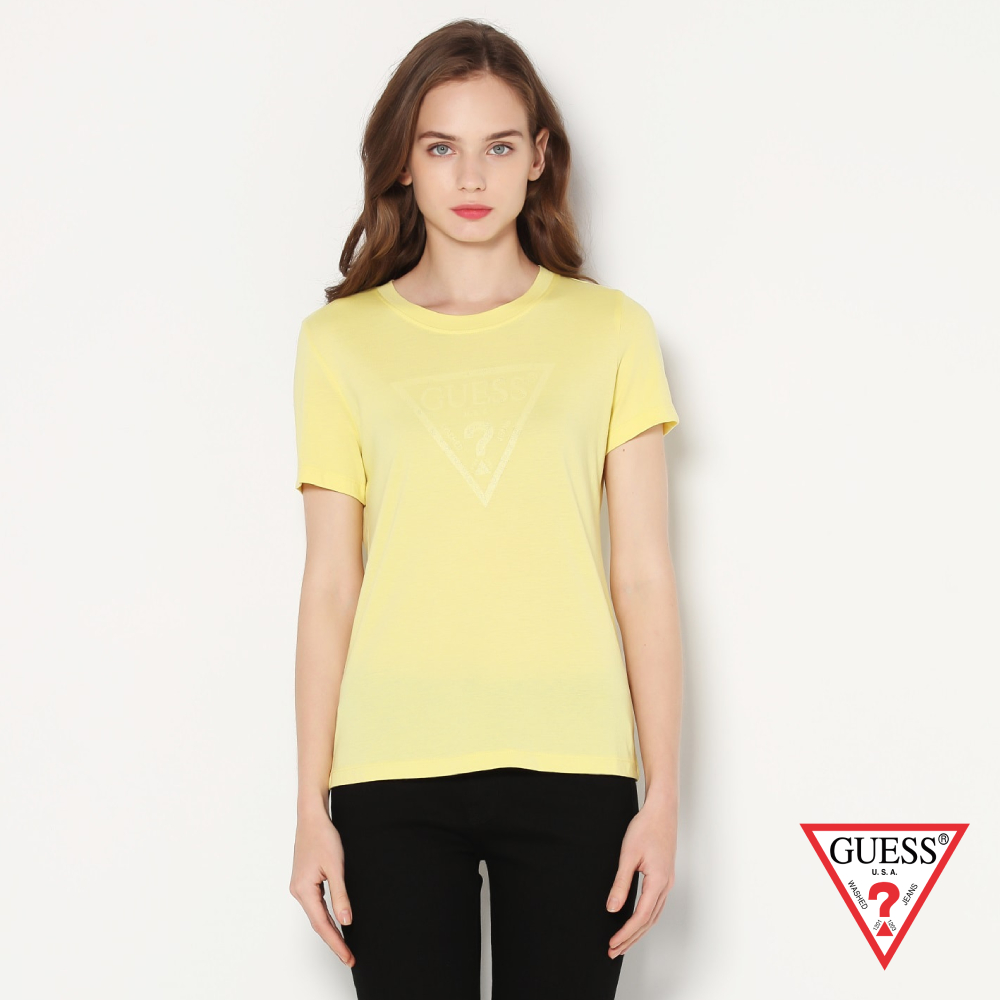 GUESS-女裝-素色亮粉倒三角logo短T,T恤-黃