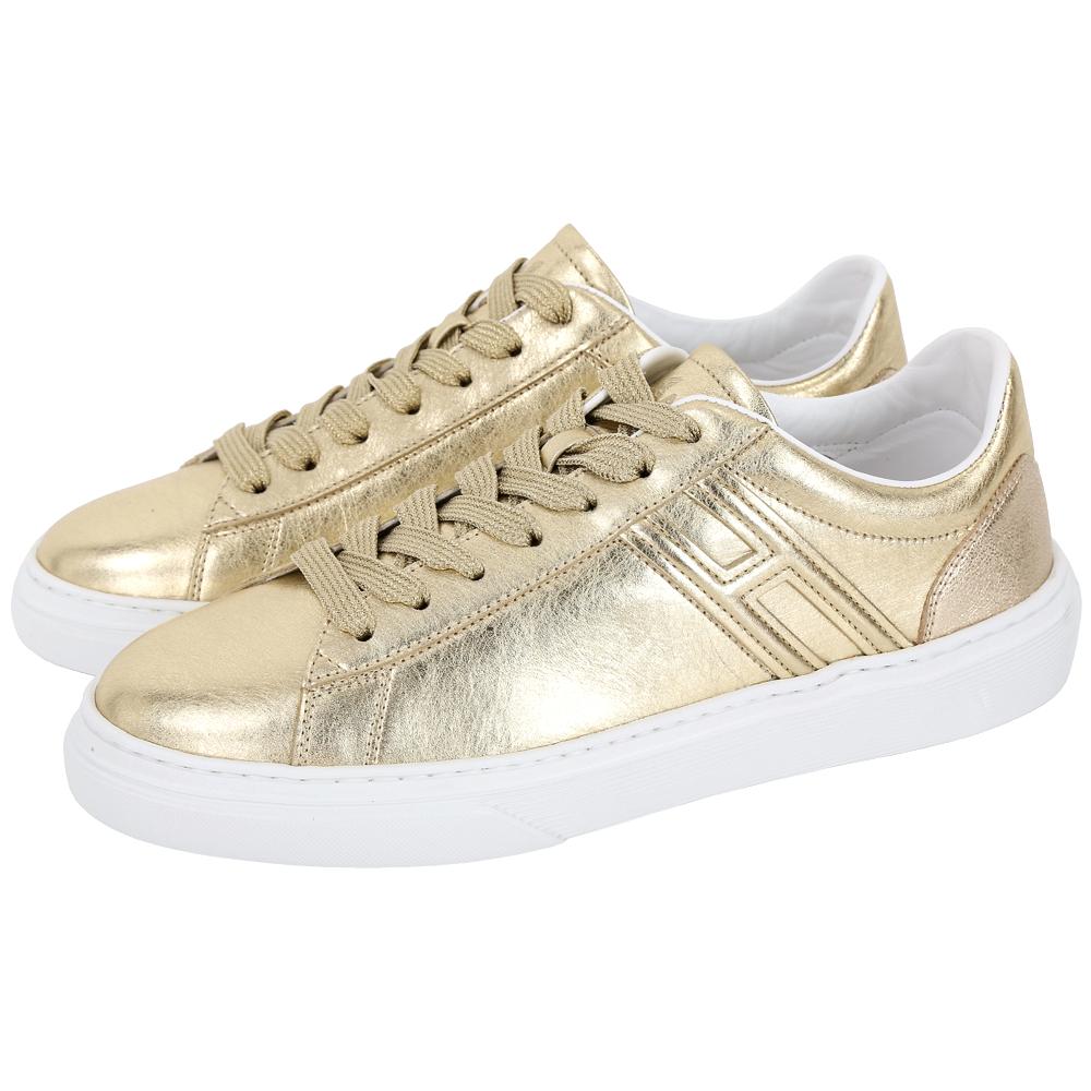 HOGAN H365 H 金色皮革繫帶都市滑板鞋