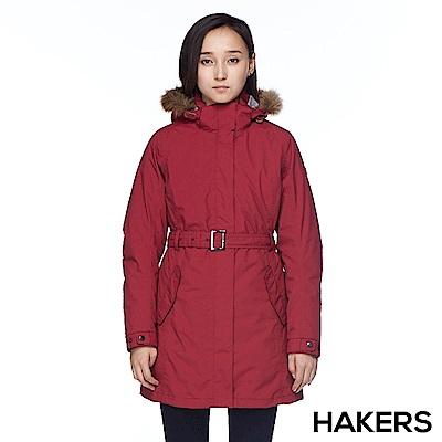 【HAKERS】女款 三合一防水羽絨外套(紅色)