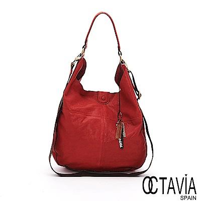OCTAVIA 8 真皮 - 輕鬆的 ensoen歐式牛皮隨性肩背包 - 喜樂紅