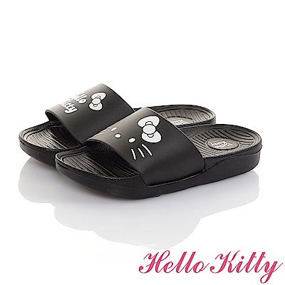 HelloKitty親子鞋 不對稱室內外拖鞋童鞋-黑
