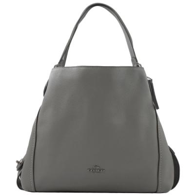 COACH 專櫃款金屬logo荔枝牛皮三層造型肩背包(灰)
