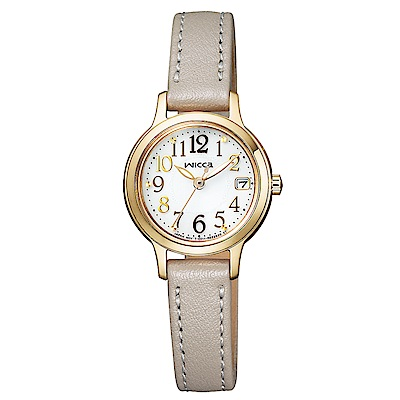 WICCA晶鑽真皮手錶(KH4-921-10)-金框X灰帶/23mm