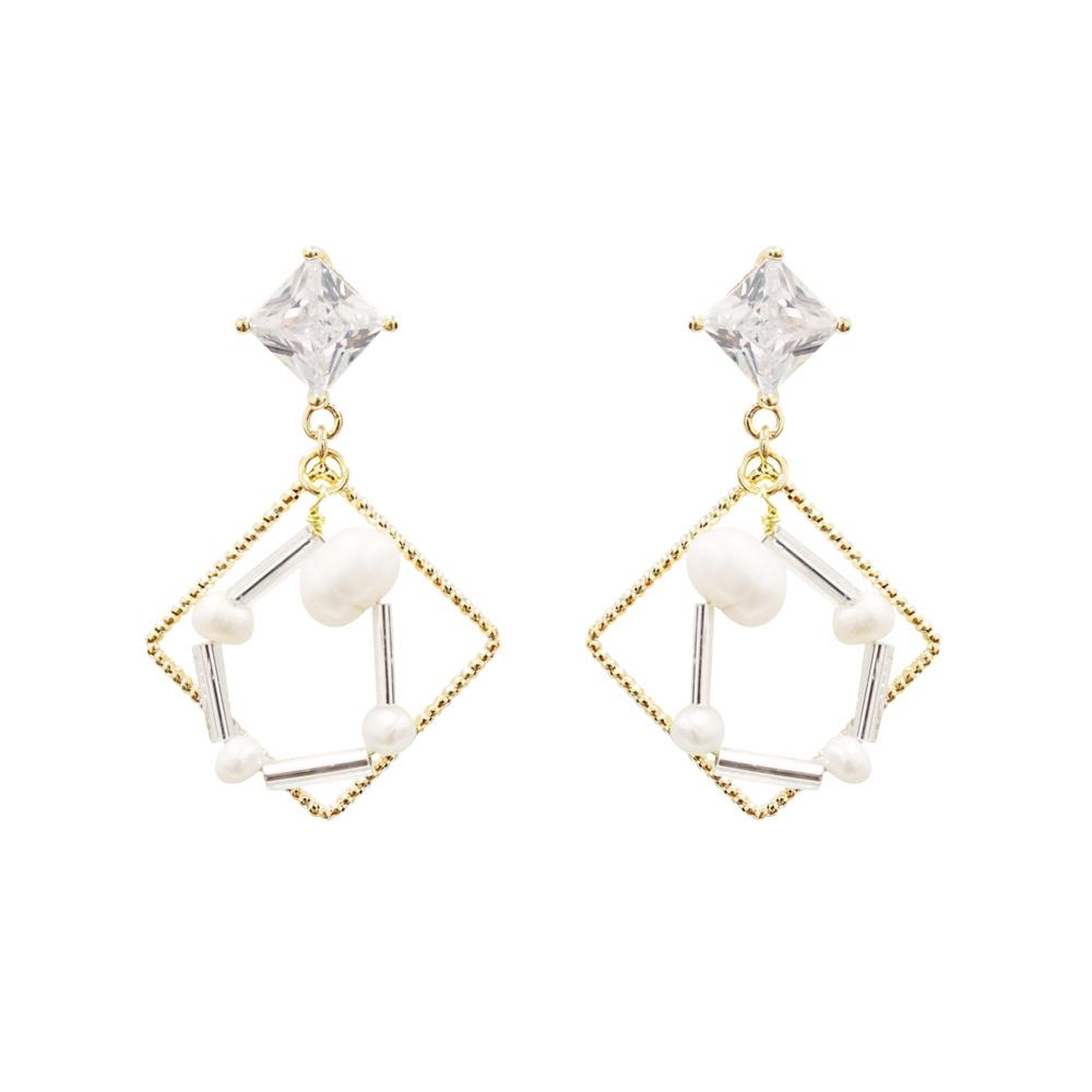 Prisme 美國時尚飾品 雙框框串珠 金色耳環