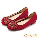 ORIN 甜美素雅 金屬圓型星星釦環牛皮平底娃娃鞋-紅色