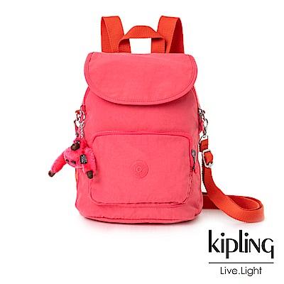 Kipling糖果色調莓果粉撞色掀蓋後背包-CARAF