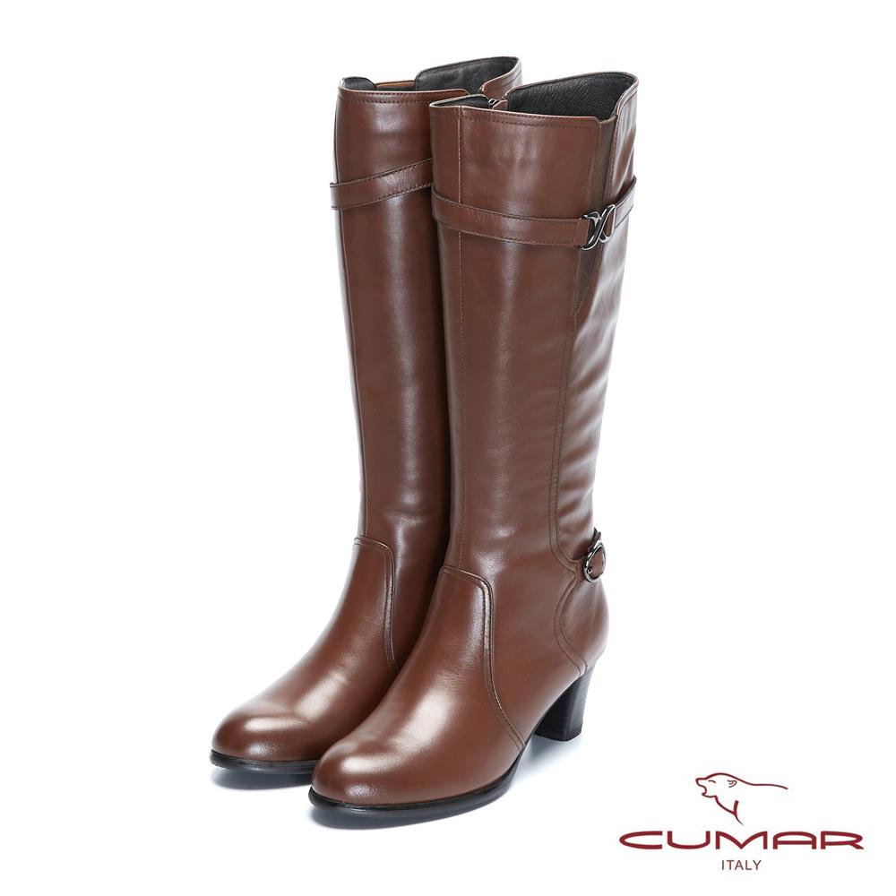【CUMAR】率性柔美-不對襯細緻腳踝帶粗跟長靴