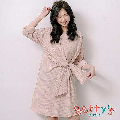 betty's貝蒂思 優雅印花側腰綁帶洋裝(淺粉)