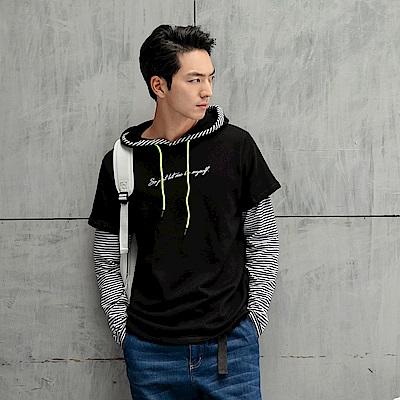 情侶系列~純色假兩件拼接條紋刺繡連帽上衣/帽T-OB大尺碼