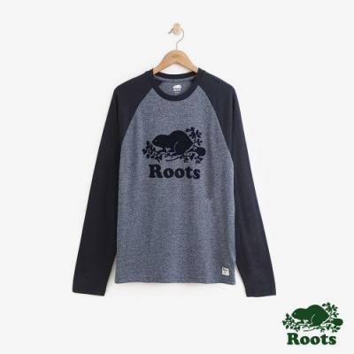 男裝Roots- 庫柏海狸長袖T恤-藍