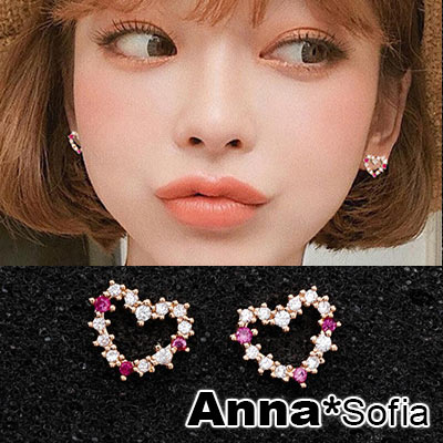 AnnaSofia 迷你甜心微鑲桃鑽 925銀針耳針耳環(金系)