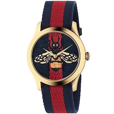 GUCCI G-Timeless精緻刺繡蜜蜂尼龍腕錶/藍紅/YA1264061