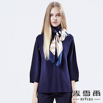 【麥雪爾】一體成型素色七分袖針織上衣-深藍