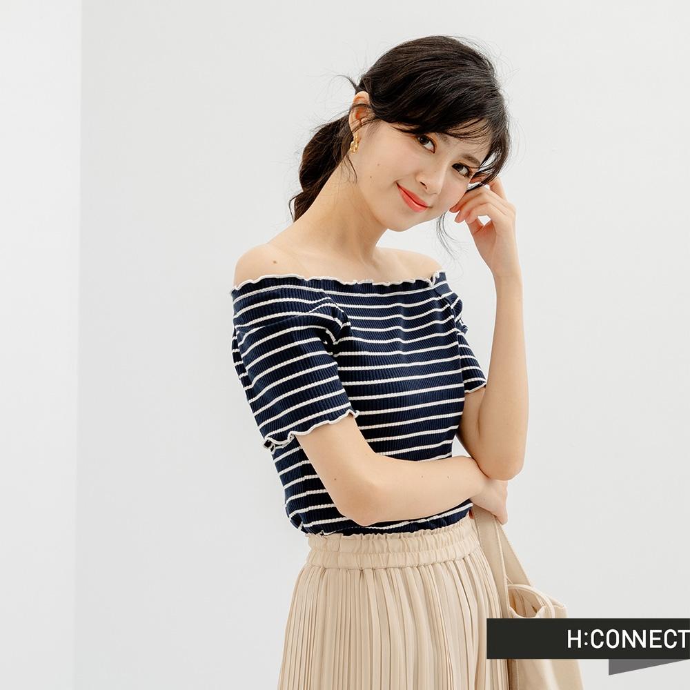 H-CONNECT 韓國品牌 女裝- 素色條紋捲邊短袖上衣-黑色