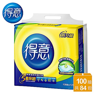 [限時搶購]得意連續抽取式花紋衛生紙100抽 x84包/箱