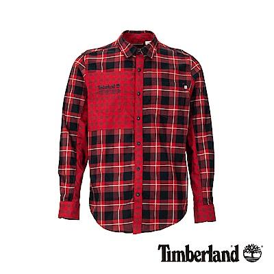 Timberland 男款紅藍格紋拼接法蘭絨長袖襯衫|A1WVQ