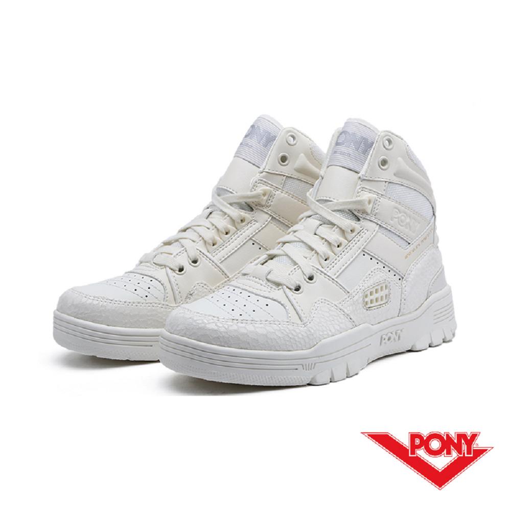 【PONY】M100系列-復古籃球鞋款-女-白
