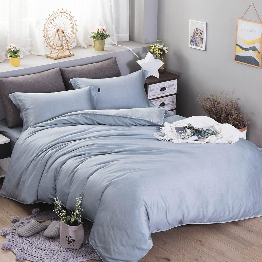 夢工場 綃紗素薄40支紗天絲兩用被床包組-加大